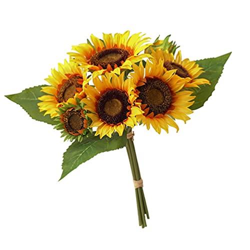FAVOMOTO Ramo de Girasol Artificial Girasoles Falsos con Tallo Flores Falsas Románticas Arreglos de Flores de Seda Regalos para Decoraciones de Boda Centros de Mesa