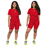 Women's 2 Piece Outfit - Casual Solid Color T-Shirts Workout Tracksuit Bodycon Pants Suit Set Jumpsuit Rompers (Red, XL)