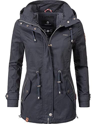 Marikoo Damen Übergangsjacke Baumwolljacke mit Kapuze Nyokoo Blau Gr. XS