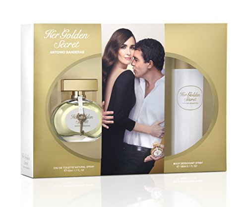 Antonio Banderas Her Golden Secret Eau de Toilette mit Vaporisator, 50 ml, und Deo-Spray, 150 ml
