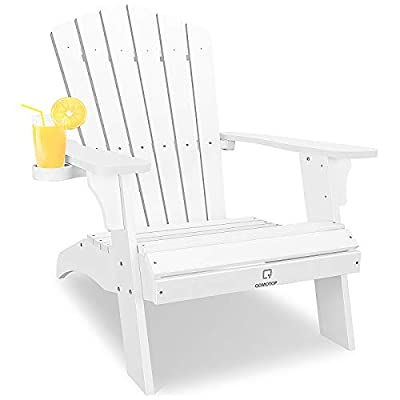 White Adirondack Chair with Cup Holder, Extrawide Poly Lumber Lounge Chair Outdoor Patio Chairs for Garden and Lawn, All Weather Resistant, 38L 30W 41.5H