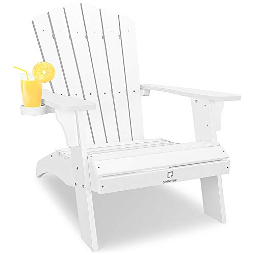 OT QOMOTOP Oversized Poly Lumber Adirondack Chair with Cup Holder, Fade-Resistant Lounge Chair with 350lbs Duty Rating, All-Weather Chair for Fire Pit & Garden, 38L 30.25W 41.5H (White)
