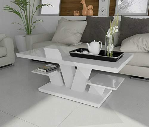 Modern Couchtisch Weiß mit Hochglanzplatte und zwei Regalen für das Wohnzimmer, stilvoller moderner weißer Mitteltisch für Tee und Kaffee, Beistelltisch Wohnzimmertisch Weiß