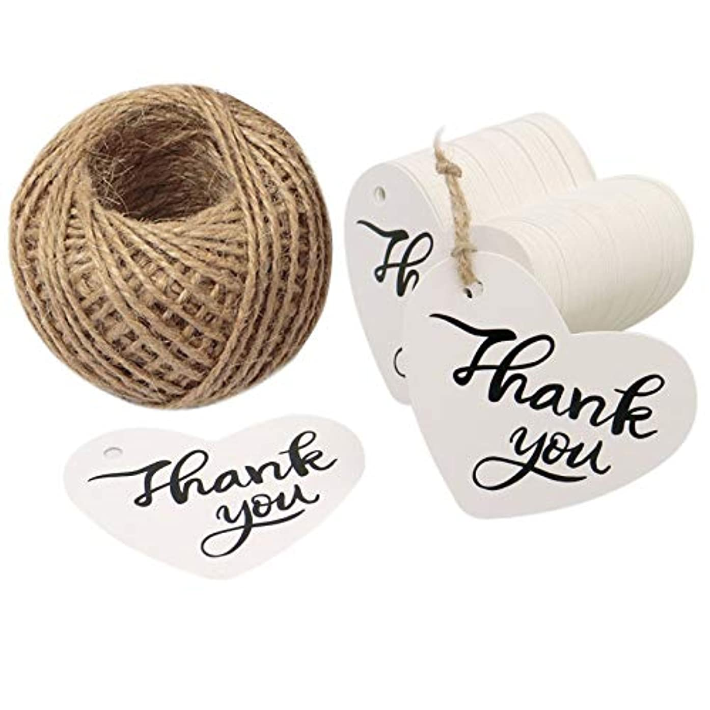 Thank You Tags,100 Pcs Kraft Paper White Gift Tags for Wedding Favor Party Tags with 100 Feet Jute Twine