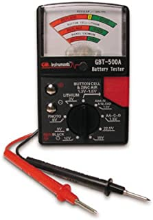 Gardner Bender GBT-500A Analog 1.5 V Button Cell/22.5 Photo/AA/AAA/12 V/9 V/Lantern Cells & More, Leads Battery Tester, Black