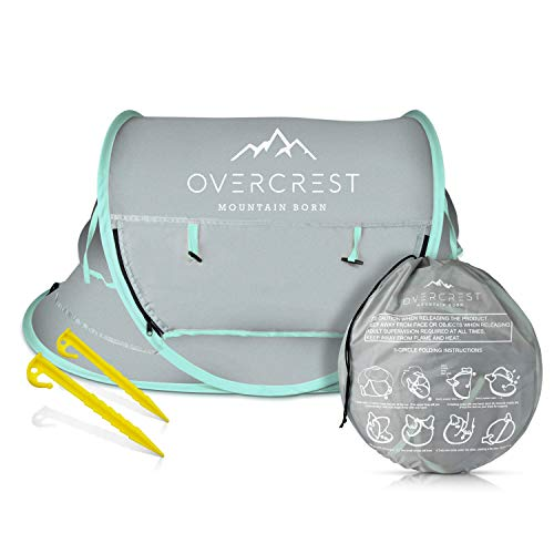Overcrest Portable Beach Pop up Tent Babies, UPF 50+, Large Sun Shelter Infant Babies, Mosquito Net Sunshade, Lightweight Outdoor Travel Baby Crib Bed (Mint)