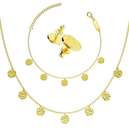 BAFFOS® Schmuck-Set mit Halskette, Armband und Ohrstecker für Frauen - Runde Plättchen aus widerstandsfähigem Edelstahl in Farbe Gold