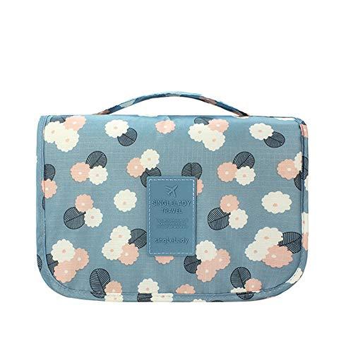 IEUUMLER Viaggi toilette Borsa Organizzatore Lavare Cosmetici Borsa Pieghevole Cosmetico Bag IE126 (Blue Flower)