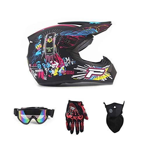 LIYAN Off-road anti-botsing motorhelm, helm helm helm helm kit volwassen snelweg (+bril en fietshandschoenen)