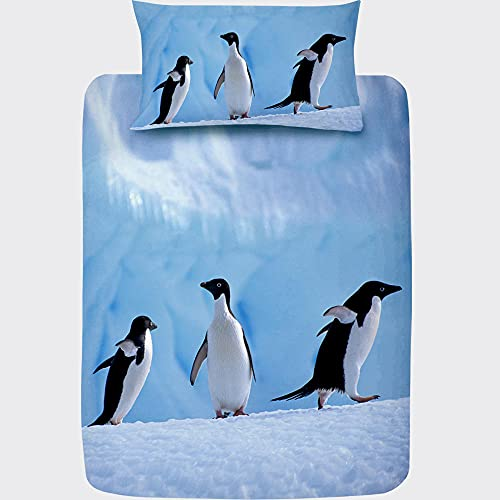 Funda Nordica Cama 90 Pingüino Azul Reversible, Ropa de Cama 90x190 de Microfibra Suave 120gsm,...
