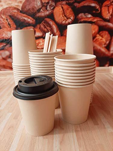 Natooz Einwegbecher, Coffee to go Pappbecher, umweltfreundlich, 50 Stück Papierbecher 200ml 8 oz, Party Cups, Pappbecher für Heiß- und Kaltgetränke, Natur einweg Becher