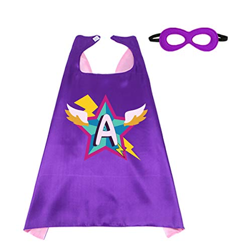 Kids Superhero Cape Mask for Girls with 26 Initial Letters for Halloween Costume Hero Dress up Christmas Party Supplies