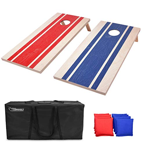GoSports 4'x2' Wood Design Cornhole Game Set - Includes Two 4'x2' Boards, 8 Bean Bags, and Carry Case, Red, Blue