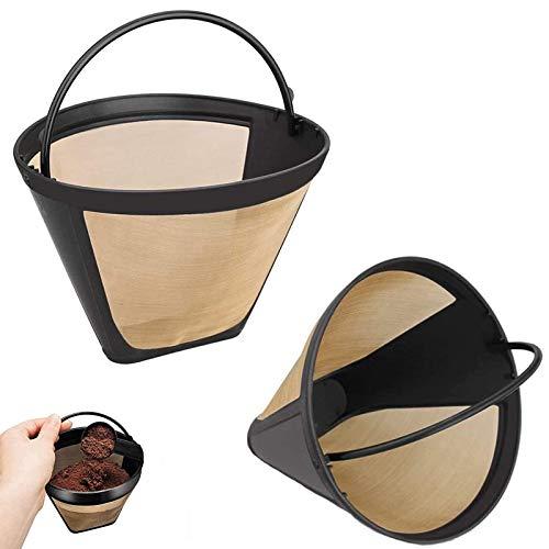2 StüCk Kafeefilter Dauerfilter FüR Tee Wiederverwendbar Kafeefilter Kaffeefilter Groß Edelstahl Wiederverwendbarer Tasse Filter Mesh Korbmit Edelstahlgewebe FüR 8-12 Tassen Kaffee Kunststoff Schwarz