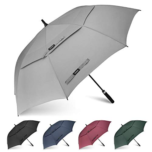 Gonex 68 Inch Extra Large Golf Umbrella, Automatic Open Travel Rain Umbrella with Windproof Water Resistant Double Canopy, Oversize Vented Umbrellas for 2-3 Men and UV Protection, Grey