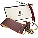 Seeyo Straight Razor with Premium Leather Strap - Stainless Steel Manual Vintage Straight Razor Kit for men - Micarta Stylish Handle - 2 Layers Leather Canvas Strap Sharpening Strop.