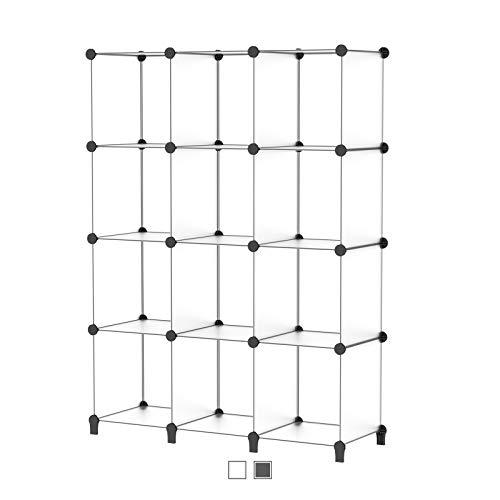 SIMPDIY Storage Cubos modulares 12 Cubos Transparente (124x93x30cm) Organizador portátil de plástico Estantería Estante Estante…