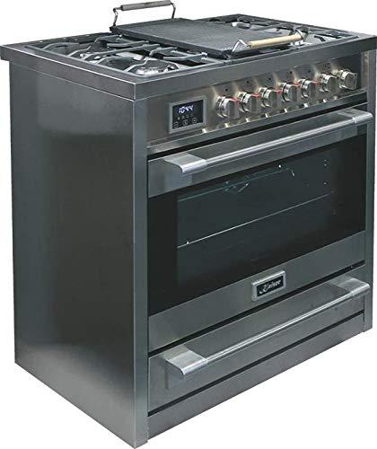 Kaiser HGE 93505 R Gasherd 90 cm / Elektro-Backofen / 115 l / Gaskochfeld / 4,5 kW WOK / 8 Funktionen / Selbstreinigung / Erdgas und Propan möglich / Luxus Qualität