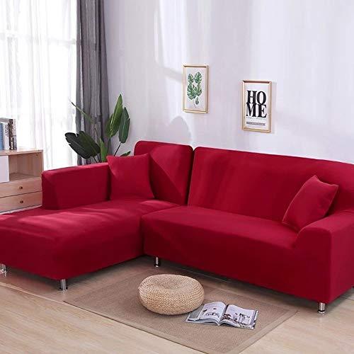 KTUCN Fundas para sofá, 2 Fundas para sofá de Esquina, sofá en Forma de L, Sala de Estar, sofá seccional, Chaise Longue, Funda para sofá, Rojo, 195-230cm 195-230cm