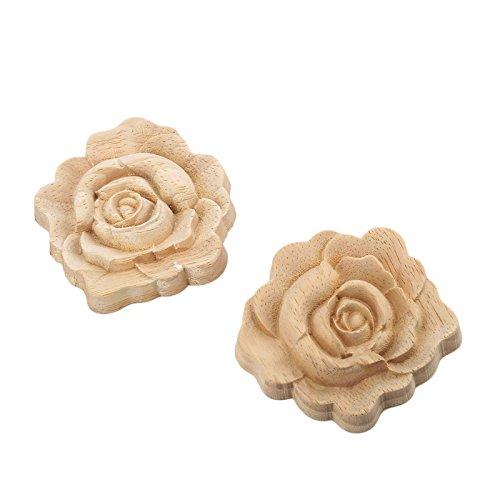 MUXSAM 2pcs 7 * 7cm Holz Skulptur Corner Flourish Onlay Dekoration Tür Rose Unpainted Europäischer Stil