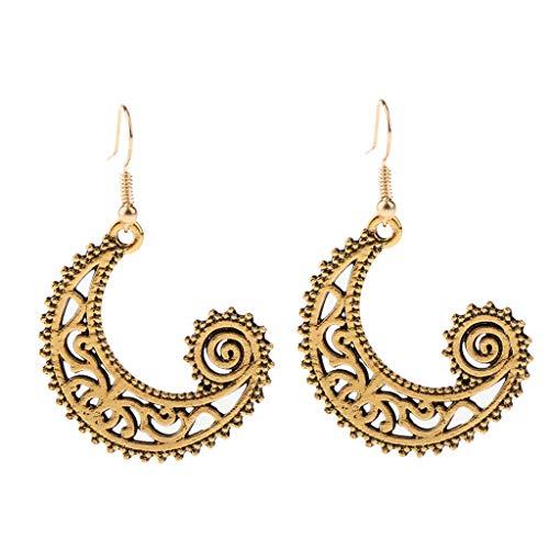 B Baosity Gypsy Fish Hoop Spiral Moon Earrings Women Girls African Tribal Ethnic - Antique Gold