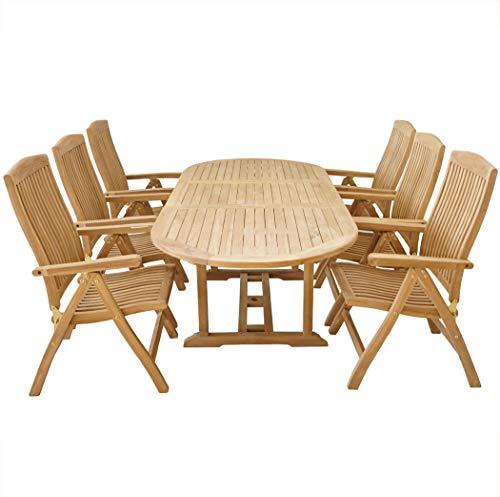 KMH mbH KMH®, Teak Gartensitzgruppe mit ausziehbarem Gartentisch für 6 Personen (#102205)