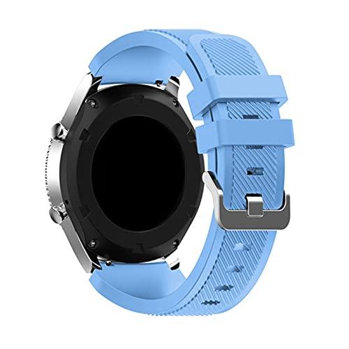 PAZHOU Correa de silicona inteligente para reloj Samsung Galaxy 46 mm/3 45 mm para Gear S3 Frontier Huawei Watch GT/2/2E 22 mm (Color de la correa: azul claro, ancho de la correa: 22 mm)