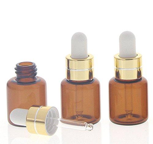 Kosmetex Serum-Flasche mit weißer Silikonpipette, 3 kleine 5ml Braunglas Fläschchen mit Pipette, 3 Stück