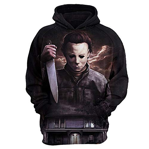 IDEALcos Halloween Michael Myers Hoodie Kostüm 3D gedruckt Sweatshirt (L, Schwarz)