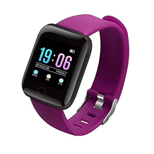 XUEXIU Pulsera De Reloj Inteligente Pulsera Rastro del Corazón Pedómetros Presión Arterial a Prueba De Agua 116 Plus Wirstbanda para iOS ANDROD (Color : Purple)