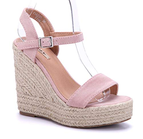 Schuhtempel24 Damen Schuhe Keilsandaletten Sandalen Sandaletten rosa Keilabsatz 12 cm High Heels