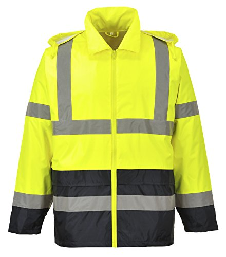 Portwest UH443YBR4XL Hi-Vis Contrast Rain Jacket, 4X-Large, Yellow
