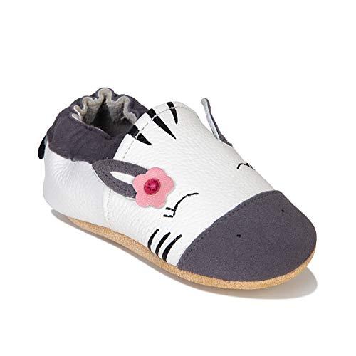 Chaussures Cuir Souple Bébé Chaussons Premiers Pas Bebe pour Garçon Fille Nourrisson Efant(Blanc Ht,6-12 Mois)