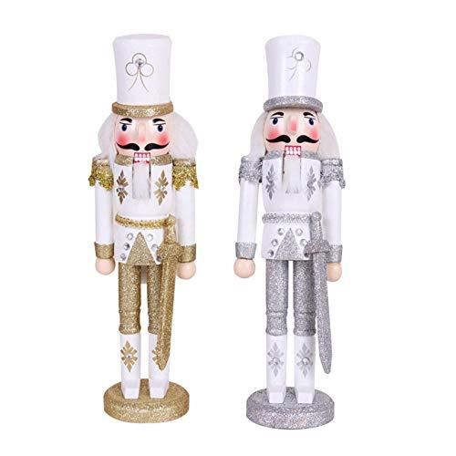 ayaowangluok - Cascanueces, 30 cm, diseño de cascanueces, decoración de Navidad pintada con base...