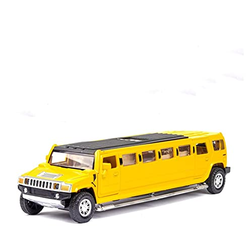 Kit Juguetes Coches Metal Resistente 1:32 para Hummer Alargar Limusina Tirar hacia Atrás Modelo De Coche De Aleación Modelo De Vehículo Fundido A Presión De Metal Maravilloso Regalo (Color : Yellow)