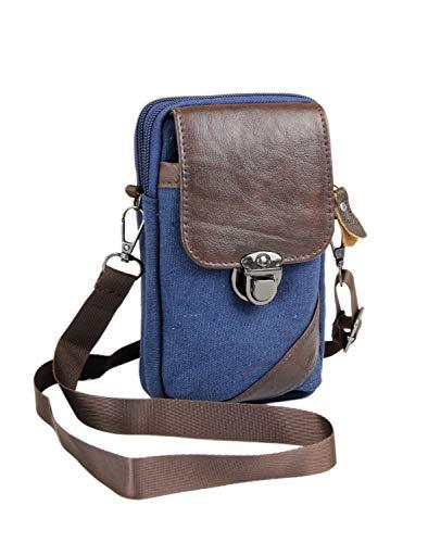Leoodo Kleine Damen Herren Umhängetasche Crossover Flugbegleiter Sport Bag Handtasche Schultertasche Geldbörse Handy Mini-Tasche für Joggen Klettern Fahrrad, Damen Tasche:Navy