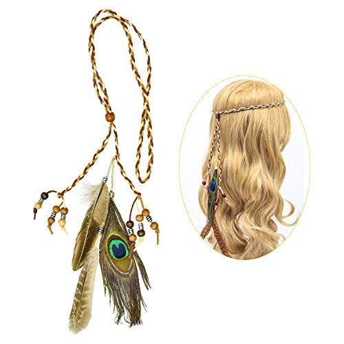 cococity Bohemian Stirnband Feder Haarband Quaste Geflochten Indianer Kopfschmuck Leder Seil für Frauen Festival Halloween Karneval Boho Haar Zubehör (braun)