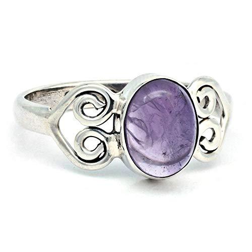Ring Silber 925 Sterlingsilber Amethyst lila Stein (Nr: MRI 186), Ringgröße:52 mm/Ø 16.6 mm