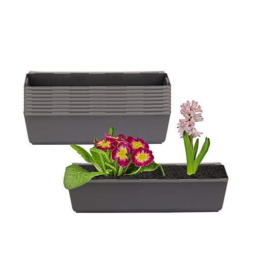 BigDean 8er Set Pflanzkasten inkl. Aufhänger für Europalette - Blumenkübel in Anthrazit - LxBxH ca. 37 x 13,5 x 9,5 cm - Ideal zum Hängen & Stellen - Robust & wetterfest -