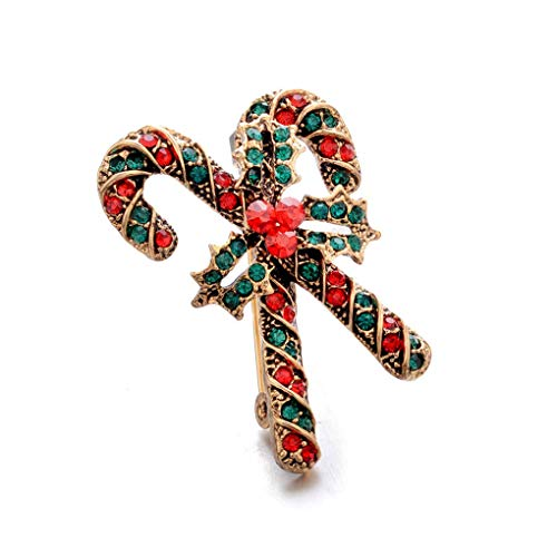 Fashion Christmas Tree Brooch Pin Christmas Inlaid Rhinestone Brooch Pins Scarves Shawl Clip for Women Girls,Golden Walking Stick Cost-Effective