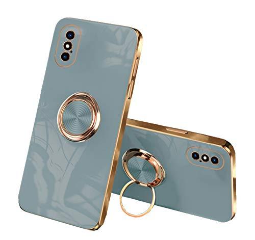 通用 Funda para iPhone X/XS/XS MAX Apple,Fundas iPhone X/XS/XS MAX Silicona TPU Compatible Case Soporte Armor Antigolpes Carcasa con Posterior Magnético Iman (iPhone X, Gris)