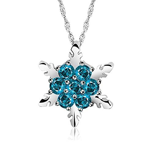 Collares Joyería Colgantes Simple Clásico Moda Dama Azul Cristal Copo De Nieve Circón Flor Color Plata Collares Y Colgantes Joyería Regalo para Mujer