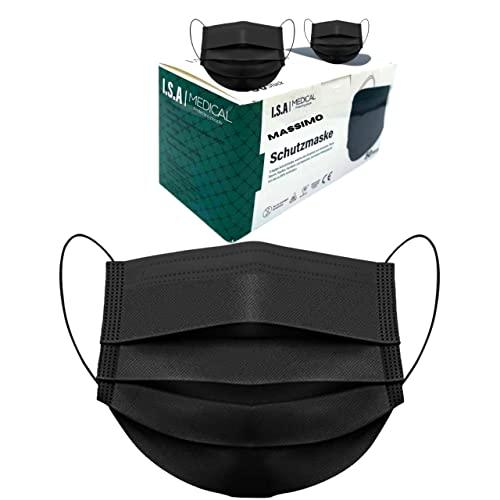 50 Stück Schwarze Medizinisch Chirurgische Masken Type IIR Norm EN 14683 zertifizierte CE Mundschutzmasken OP Maske 3-lagig BFE ≥ 98% Mundschutz Gesichtsmaske Einwegmaske mund und nasenschutz