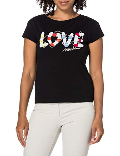 Love Moschino t-Shirt Short-Sleeves, Personalised with Maxi Love Lifesaver Hearts Embroidery Camiseta,...