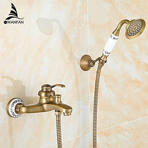 Llegada del grifo Juego de ducha de latón antiguo Grifo + Grifo mezclador de bañera + Ducha de una manija Montado en la pared ZLY-6756Q Juego de baño de ducha marrón