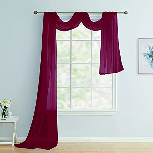 Scarf Sheer Voile 37x216 Window Quality Home Event Designs Beautiful Elegant Solid Topper Long Treatment Scarves Decorative Wedding Valance Curtain Living Room Bedroom Ceremony( Burgundy )