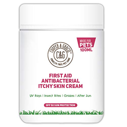 C&G PETS   FIRST AID ANTIBACTERIAL ITCHY SKIN CREAM WITH SPF 50   100% NATURAL ESSENTIAL OIL   MAINTAINS CRACKED ITCHY SKIN  LICK SAFE NON TOXIC NON IRRITANT  HIGHLY ABSORBENT SUN CREAM FOR DOGS 100ML