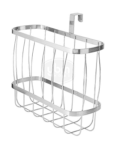 YBM HOME Over-The-Tank Toilet Magazine Holder and Newspaper Organizer Bin, Metal Standing Rack for Magazines, Books, Newspapers, Tablets in Bathroom, Family Room, Office, Den - Chrome Plated 2219