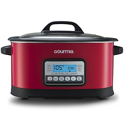 Gourmia GMC650R 11 in 1 Sous Vide & Multi Cooker - Red Stainless Steel with LCD Display Multiple Cooking Options, Bonus Accessories & Free Recipe Book