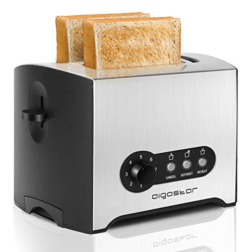 Aigostar Mini Sunshine 30MPX - Tostadora de 2 rebanadas, 900W, 7 niveles de tostado, ranura extra ancha, bandeja recogemigas extraíble, acero inoxidable. Función de recalentar, descongelar.